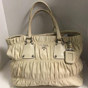 Prada Handbags - Authentic Prada Nappa Gaufre ivory satchel