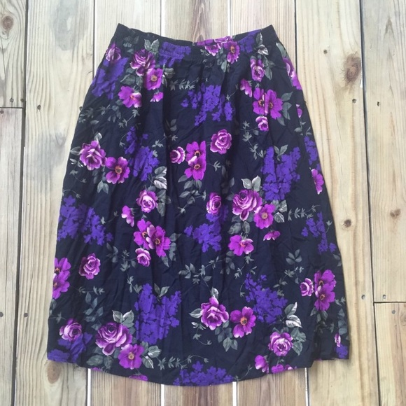 4b3834d80529 Blair Skirts | Vintage Purple Floral Midi Skirt | Poshmark