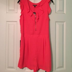 Express Dresses & Skirts - Coral Ruffle Romper