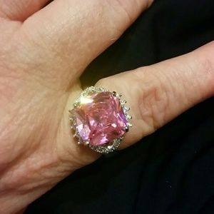 Jewelry - New  Pink topaz and white cz Sterling Silver ring