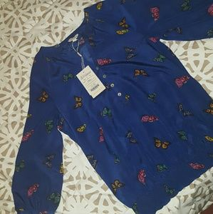 Monsoon Tops - 🎉NWT Monsoon butterfly blue blouse!