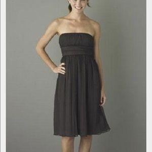 J. Crew Emily black strapless silk dress.