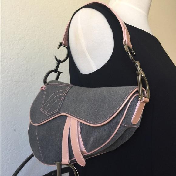 d71143b4fd18 Christian Dior Handbags - Christian Dior denim and pink saddle bag