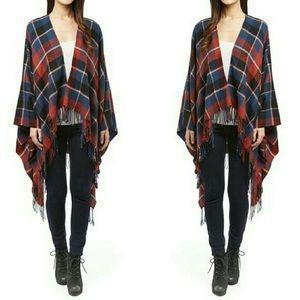 Sweaters - Red and Blue Plaid Boho Poncho/Shrug