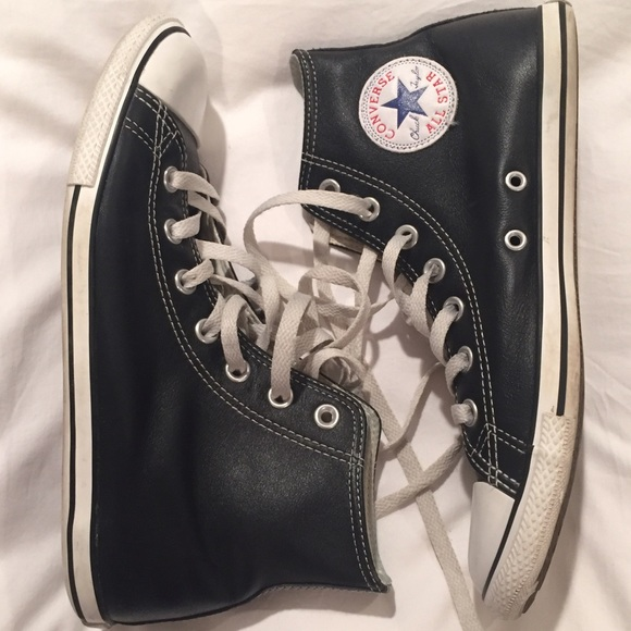 Leather Converse High Tops Slim