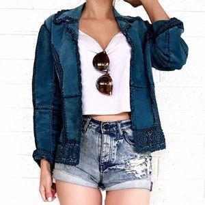 Vintage Jackets & Blazers - Vintage suede crochet jacket