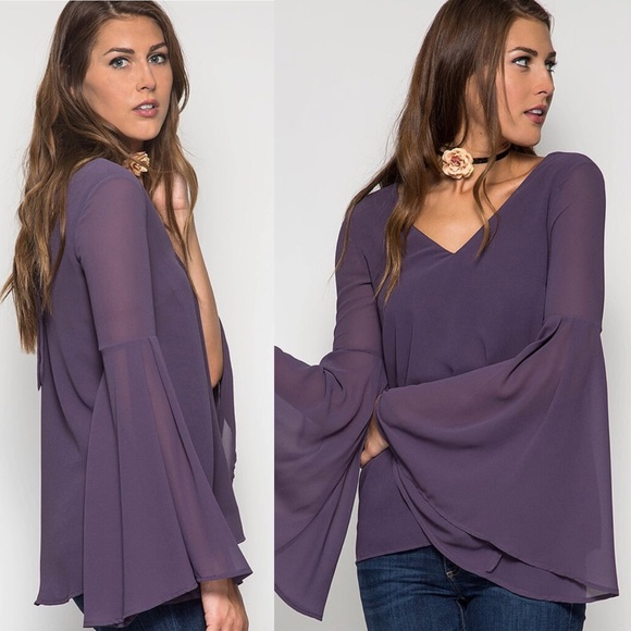 3f9ce2cac75d07 She and Sky Tops | Sold Out Vneck Bell Sleeve Top Plum | Poshmark