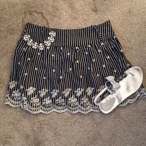 Black and white striped and floral skirt