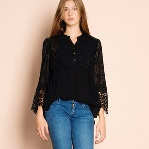 LOWEST 💜 Crochet Sleeve Black Top