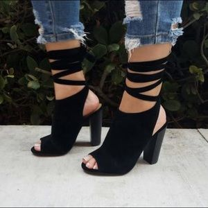 Shoes - Black open toe mule lace up heels