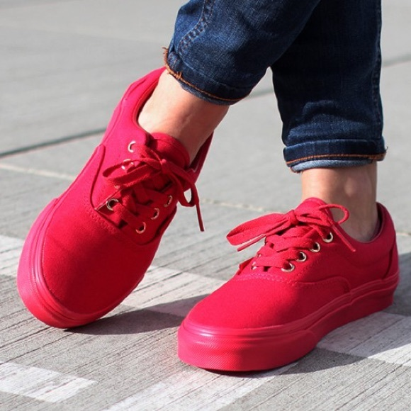 991da19c2adc Vans Shoes - All red low top vans skate shoes