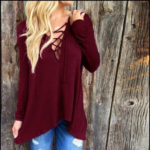 Tops - Wine Red Criss Cross Hoodie Sweatshirt