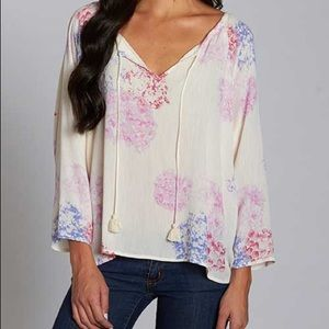 Love Stitch Tops - Water Color Printed Top with Tassel