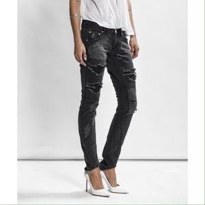 One Teaspoon Denim - One Teaspoon Distressed Black Freebirds Jeans
