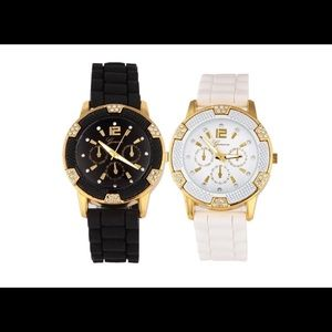 Black and White silicone watches with rhinestones