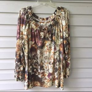 Boho distorted floral print top XL