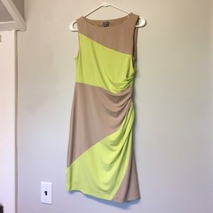 Nude and neon fitted dress