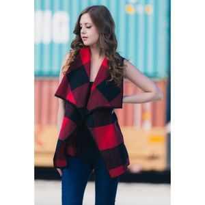 Jackets & Blazers - Plaid Vest with Pockets-RED/BLACK
