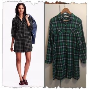 Old Navy Teal Green & Navy Plaid Shirtdress
