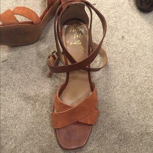 4731e72e72a Banana Republic Shoes - Banana Republic camel ankle wrap Pella heels