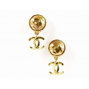 Chanel Gold Drop CC Vintage Clip On Earrings