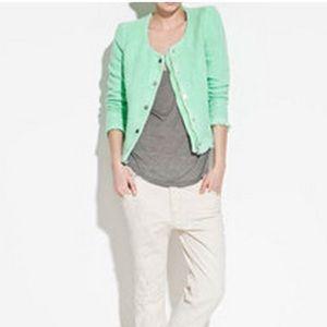 Zara Mint Green Tweed Blazer