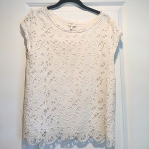 White scallop detailed Joie top