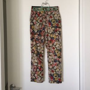 Topshop silky cropped floral pants