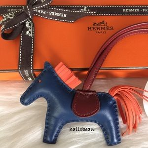 Hermes Accessories - Auth Hermes Rodeo Horse Bag Charm PM Blue/Orange