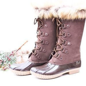 Jennifer's Chic Boutique Shoes - Fur Lace Up Duck Boots