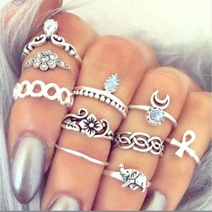 10pc knuckle/midi ring set