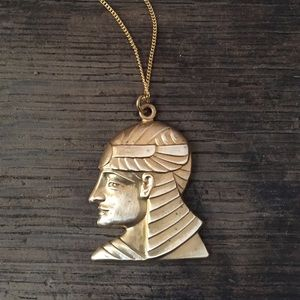 Vintage brass pharaoh Egypt pendant necklace