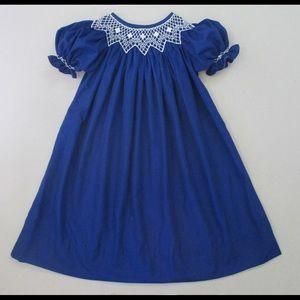 NOLA Smocked Other - 💙NAVY fall smocked bishop dress