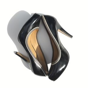 Nine West Black Pumps with Grey & White Detail
