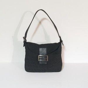 Fendi black hobo baguette handbag