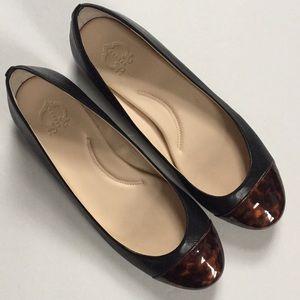 C. Wonder Shoes - C. Wonder Leather Ballet Flats w/Leopard Tips