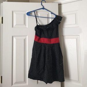 La Chapelle single shoulder dot A-line dress
