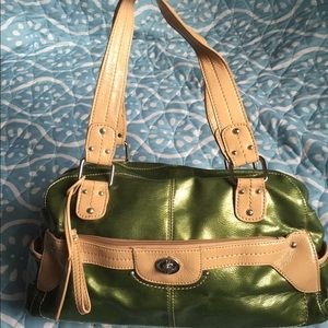 Relic Handbags - Metallic green and tan purse