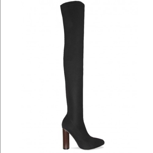 Simmi shoes Shoes - Riah Black Knitted Thigh High Boots