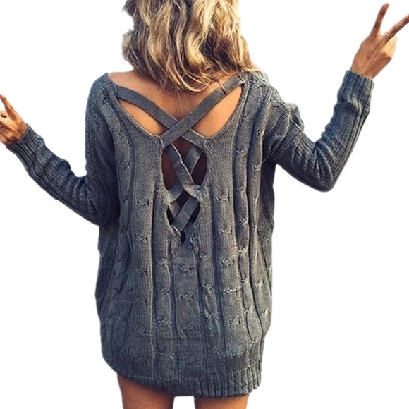 2caa80c0f39285 Goensshopping Sweaters | Gray Criss Cross Back Cable Knit Sweater ...