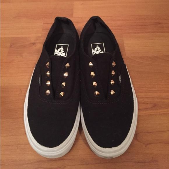 Vans Shoes   Black Vans With Gold Studs