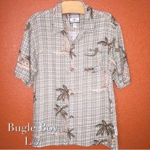 Bugle Boy Khaki Lizard Tropical Button Up L 7