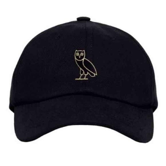 4bebdf9c66b Gold Drake OVO black baseball cap 6 God owl hat