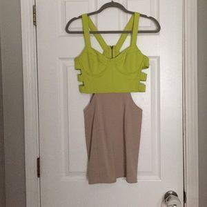 Lush Dresses & Skirts - Nude/Neon cutout back mini dress