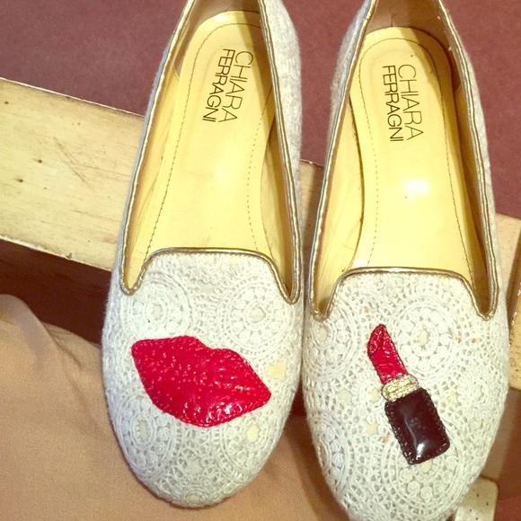 2687f448e22 Chiara Ferragni Shoes - Chiara feragani lipstick lace flats