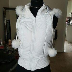 Dollhouse Jackets & Blazers - dollhouse white puffer vest with fur Hood, sz sma