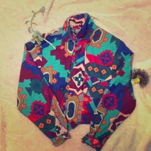 80s Printed crop jacket/shirt