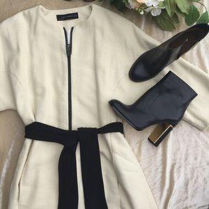 66b86e1d Zara Jackets & Coats | Kimono Sleeve Belted Coat Off White Xss ...