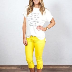 Boutique Denim - NWT yellow cropped jeans