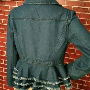Jackets & Blazers - Last One!!! Blue Denim Jacket with Curved Hemline